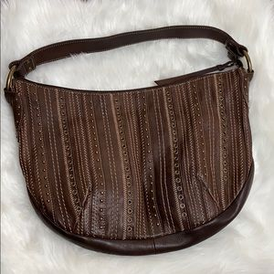Fossil leather studded and stitches shoulder bag